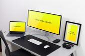 Ultra-Wide Monitor, MacBook Pro & Frame Mockup