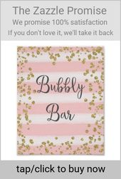 Pink and Gold Bubbly Bar Wedding Poster Print   Zazzle.com