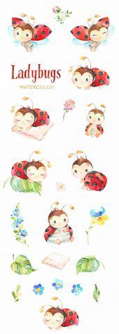 Illustrator Business Card Marienkäfer. Kleine Tiere Aquarell Clipart Blumen Blättern | Etsy