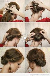 25 +> Low Bow Tutorial, Elegant Hairstyle for Parties and Weddings – #low #bodas #elega …..
