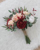 """Durchmesser 9 """"Hand gebunden Burgunder Papier Brautstrauß – rote rustikale Pfingstrose, Boho Papier Hochzeit, Boho Papier Bouquet   – Paper Flower bouquets"""