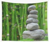 'Balancing Stacked Stacked Rocks Green Bamboo' Wall Tapestry by lukedwyerartist – base for idol