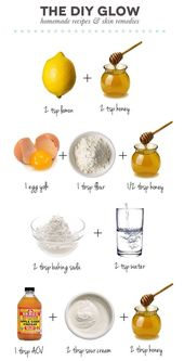 4 Face Mask Remedies For: 1. Clearing Skin, 2. Fading Marks, 3. Exfoliating, & 4.brightening.