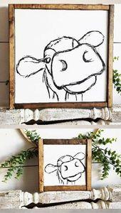 farmhouse sign cow sign rustic sign farmhouse farmhouse decor living room sign k…