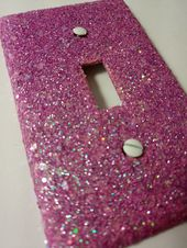 Pink & Iridescent White Opal Glitter / Bling Light Switch Plates, Outlet Covers, Rockers / Kawaii Unicorn Décor / Nursery Room / Girly Decor