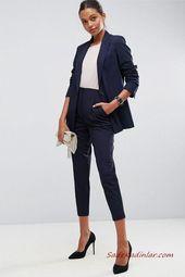 Photo of 2019 Womens Suits Combination Navy Blue Pocket Pencil Pants White Blouse Navy Blue Short Jacket Black Stiletto Shoes Cream Hand Bag