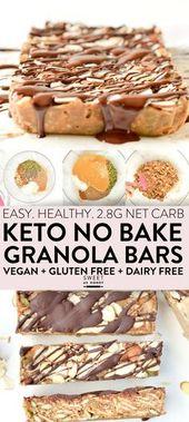 KETO GRANOLA BARS easy chewy no bake breakfast bars or healthy snacks (2.8g net …