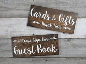 """Rustic Wood Wedding Sign """"Cards & Gifts – Thank You"""" – Wedding Decoration – Gift Table Sign – 12″x5.5″ – Dark Walnut or Gray"""