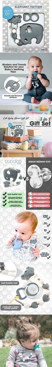 BABY TEETHING TOYS BPA FREE – Silicone Elephant Teether with Pacifier Clip Holder Set for Newborn Babies – Freezer Safe | Baby Shower Gift Idea for Stylish Little Boys and Girls – Infant Unisex Chew