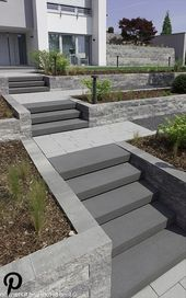 Entrance with external staircase and intermediate platforms. As a result, the path and rise acts to the ground   – Garden Ideas