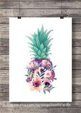 Druckbare Kunstdruck Blumen Ananas Aloha tropischen Insel Dekor Aquarell-Wandkunst Hawaii Strand Ananas Dekor Einweihungsparty Geschenk