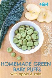 Baby Ilustration Green homemade baby puffs with apple and kale: gluten free + dairy free + refine...