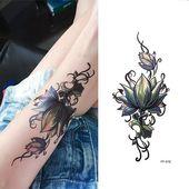 4 Sheets Women Half Arm Temporary Tattoo Stickers Fashion Flowers Fake Tattoo Stickers DIY Half Sleeve Wrist Foot Breast Back Tattoos