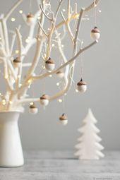 Décorations de Noël blanches – Décorations en feutre de gland – Ensemble de 6 cadeaux de fête…