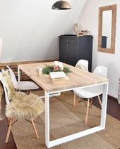 Photo of Hand Crafted 6 seater farmhouse style Modern oak Wood & whit…