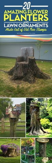 20 Amazing Flower Planters and Lawn Ornaments Made Out of Old Tree Stumps