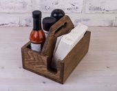 Rustic Napkin holder Napkin and salt and pepper holder Personalized Table Condiment Wooden Restauran