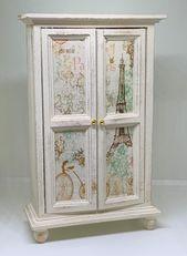 Handmade miniature dolls house furniture. Shabby chic Parisian style cream coloured wardrobe