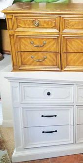 Pecan Dresser Refinished in White   – Dressers