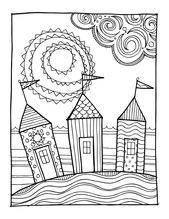 KPM Doodles Coloring page Beach houses