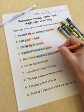 Parts Of Speech Activity Color Coding Nouns Verbs And Adjectives In A Sentence Nouns Verbs Adjectives Nouns And Adjectives Parts Of Speech Activities Identifying parts of speech worksheets