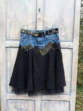 Boho Black Lace Rock Hippie Kleidung M Crazy Upcycled Blue