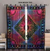 Tie Dye Galaxy Vorhang Indian Throw Twin Queen Size Vorhänge Bohemian Indian Ma… – Boho Küche