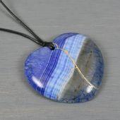 Blue dragon veins agate broken heart pendant with kintsugi repair on black cotton cord – Kintsugi / kintsukuroi stone jewelry and gifts