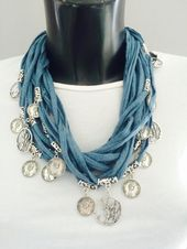 FIBER SCARF NECKLACE, fabric cotton cord with metal disc necklace, multi thread fabric necklace with pendants, gift for her, t-shirt neck