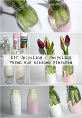 DIY Upcyling Vases made of small milk bottles just do it yourself