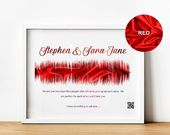 Will You Marry Me Present, Distinctive Marriage Proposal Souvenir Print with Sound Wave and QR Code, Personalised Engagement Items for Fiance