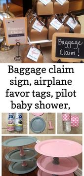 Baggage claim sign, airplane favor tags, pilot baby shower, baby shower decor, travel theme, insta 4 – Baby Shower