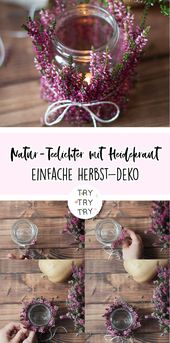 Natur-Teelichter mit Heidekraut / Deko für den He…