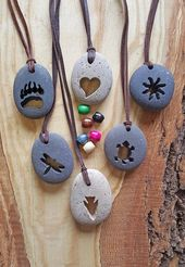 Owl Necklace // Beach Stone Jewelry // Carved River Rock Necklace // …