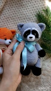 Crochet sample raccoon, crocheted raccoon, amigurumi crochet sample raccoon, amigurumi animals sample, stuffed raccoon, forest animal
