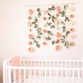 Felt Floral Backdrop for  Birthday Party – Felt Flower Baby Shower Decor – Flower Photo Backdrop – Felt Flower Wall Hanging for Nursery