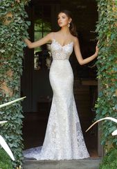 Blu by Morilee 5704 Peyton – Illusion Mieder, Spitzenkleid und Flare Brautkleid   – hochzeitskleider