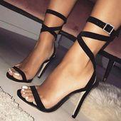 Sandalias negras Strappy Stilettos de mujer   – Hochhackige schuhe