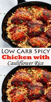 Low Carb Spicy Chicken with Cauliflower Rice #LowCarb #Spicy #Chickenwith #Cauli…