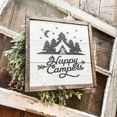 Happy Campers Wood Sign | Shiplap Sign | Camping vedskylt | Cabin Cabin | Stuga …