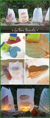 Spektakulär Windlaternen werden aus Papiertüten und Blättern …