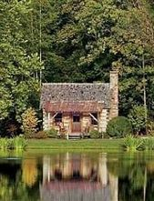 Log cabins always look best with a tall stand of t…