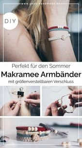 DIY Makramee Armband aus Kreuzknoten mit Muscheln und Perlen