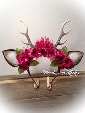 Hirschgeweih Stirnband Blume Krone Boho Cosplay von WooDnHooks – Karneval