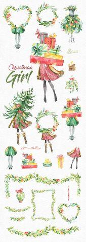 Illustrator Business Card Weihnachtsmädchen. Aquarell Urlaub Clipart, Dame, Vintage, Blumen Kränze, Gesc...