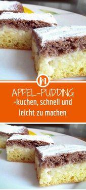 Apfel-Pudding-kuchen, schnell und leicht zu machen