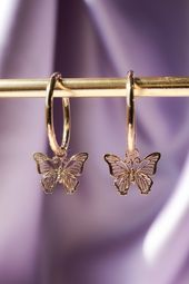 Gold Plated Butterfly Hoop Earrings – Future style
