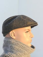 Grey newsboy cap Mens newsboy hat Tommy Shelby hat Peaky Blinders hat Womens news boy hat Woo…