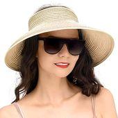 PEFECEVE Straw Hats for Women, Foldable Sun Hat UPF 50+ Wide Brim Beach Hat Beig… – travel accessories