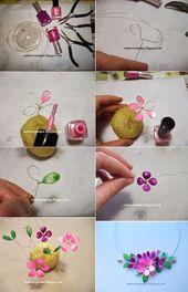 Necklace with spring thread and nail polish by seeschlwemakeit.bl… & semeistvoadams.b Crafts #Nagel – Nagel